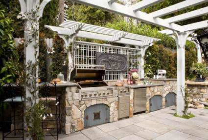 victorian inspired outdoor cooking area