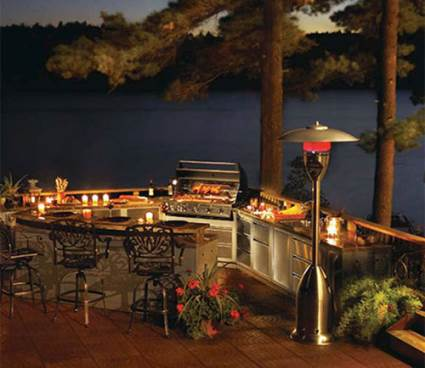 outdoor kitchen by lake