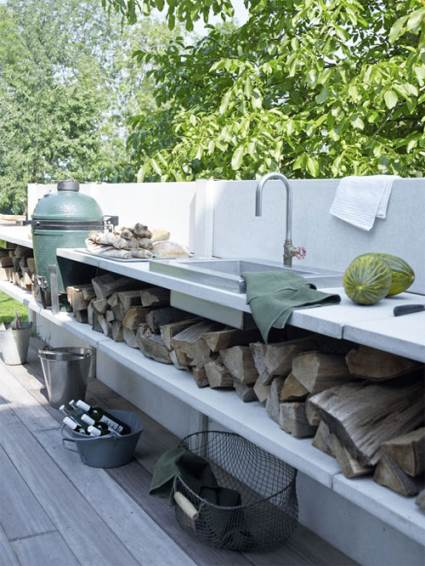 open air concrete kitchen