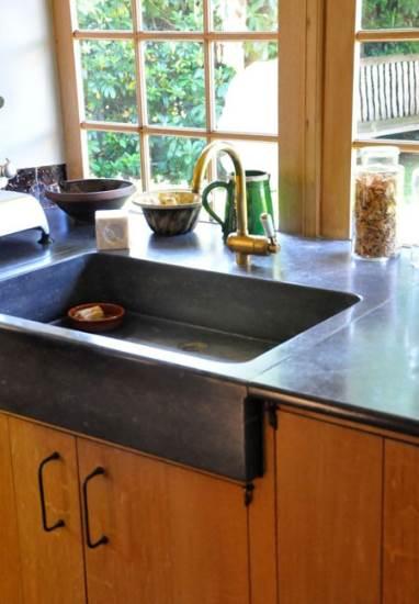 dark stone sink