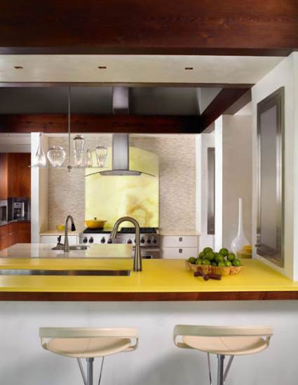 yellow kitchen countertop
