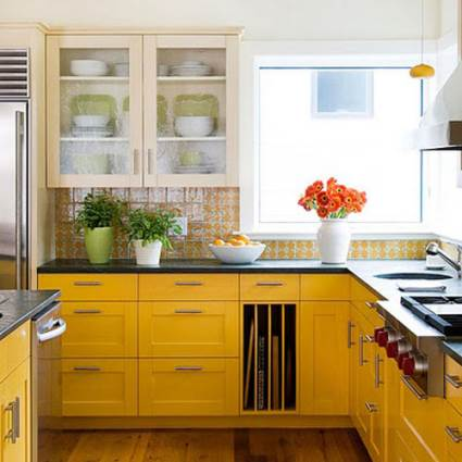 traditional yellow kitchen design