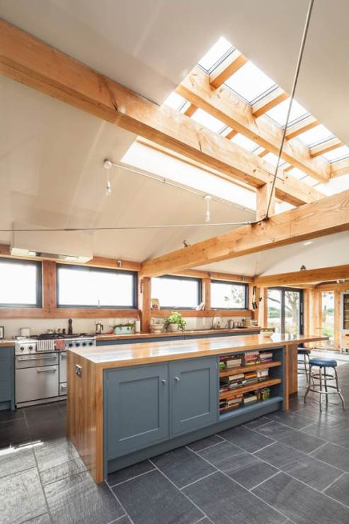 kitchen with ceiling roof