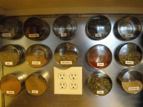 magnetic cannisters in kitchen
