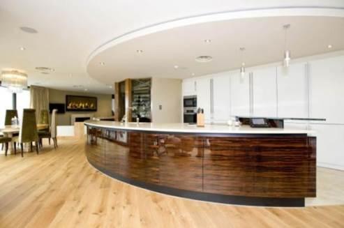 curved kitchen in mudeford riverside house