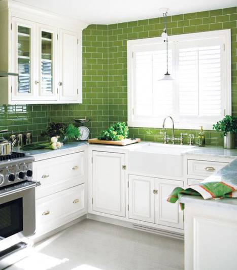 great green kitchen white cabinets