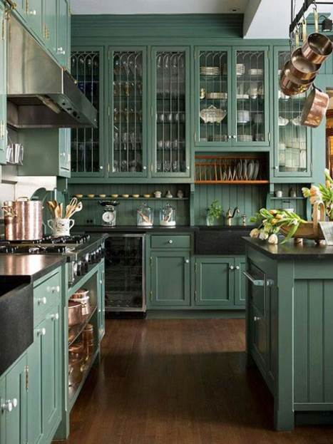 dark green kitchen colors