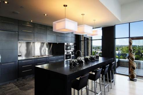 a black modern kitchen