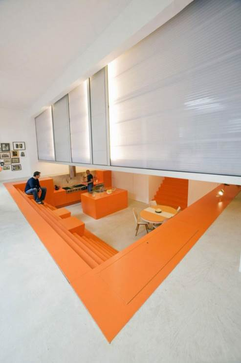 orange kitchen by lex architects