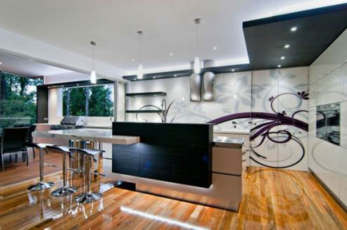 kitchen with custom graphic design