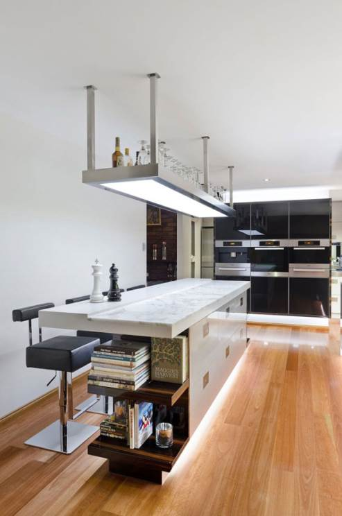 kitchen island with stainless steel shelf