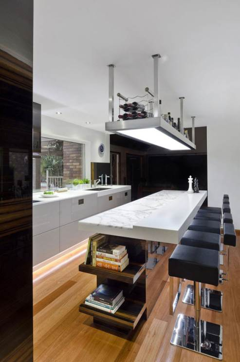 kitchen island as dining area