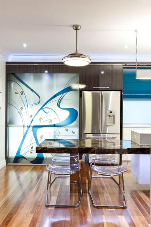 kitchen cabinet with custom designed graphic