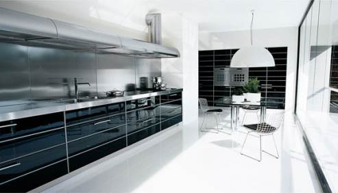 black glossy kitchen