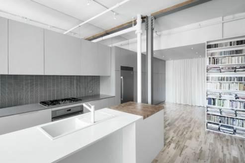 glossy white kitchen island