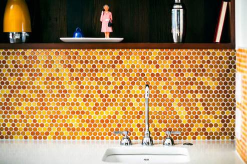 lovely vibrant yellow kitchen tiles