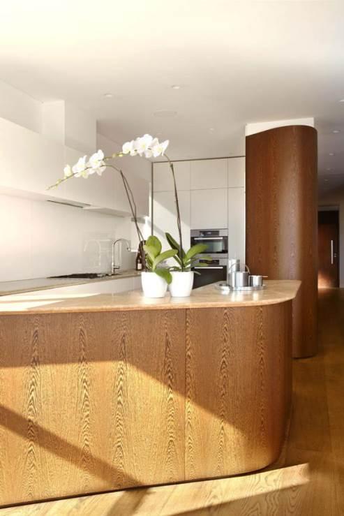 rounded kitchen island