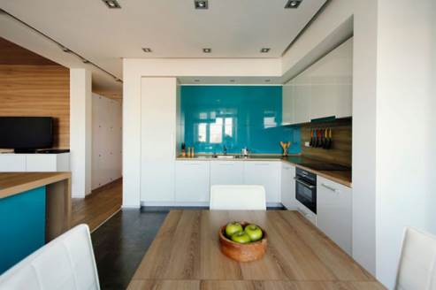 glossy white and cyan kitchen