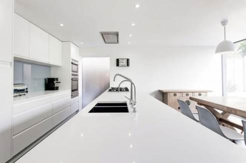 glossy white kitchen countertop