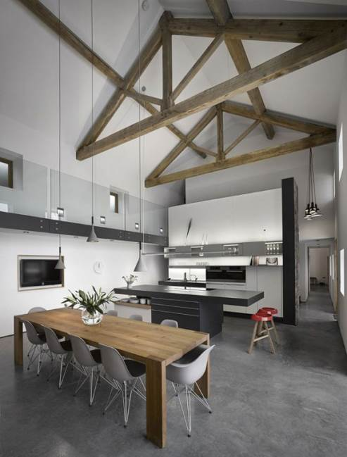 high ceiling with wooden beams