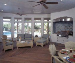 outdoor living room retro fan stove kitchen