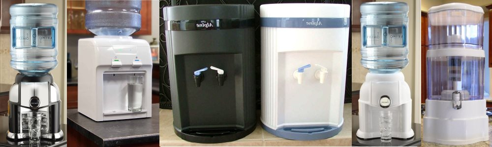 Different types of countertop water dispensers.