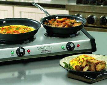 Portable electric stove with 2 burners